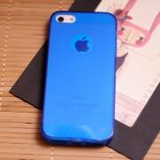 TPU чехол для Apple iPhone 5/5S/SE Синий (матово/прозрачный) 2887