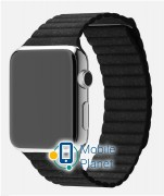 Apple Watch 42mm Stainless Steel Case with Black Leather Loop (M) (MJYP2)