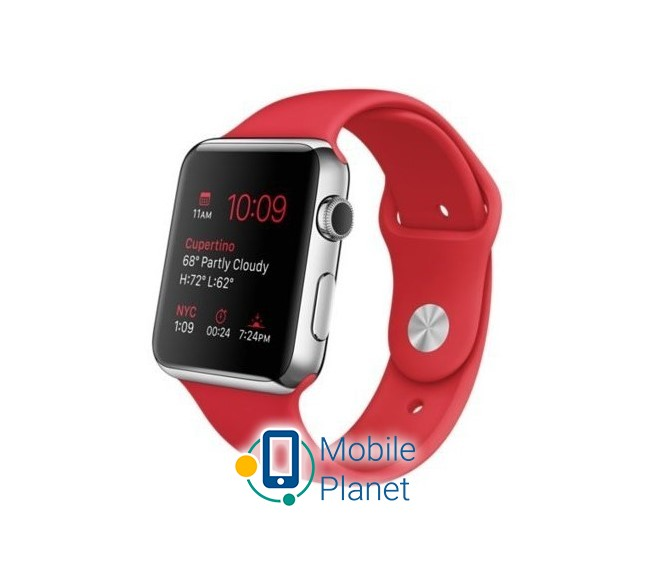 Apple Watch 42mm Stailnless Steel Case with (PRODUCT) RED Sport Band (MLLE2)