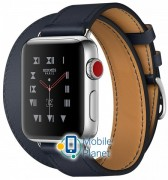 Apple Watch Hermes 38mm Series 3 GPS + Cellular Stainless Steel Case with Indigo Swift Leather Double Tour (MQLK2)