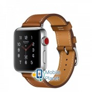 Apple Watch Hermes 38mm Series 3 GPS + Cellular Stainless Steel Case with Fauve Barenia Leather Single Tour (MQLM2)