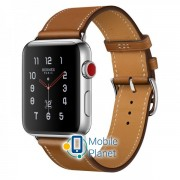Apple Watch Hermes 42mm Series 3 GPS + Cellular Stainless Steel Case with Fauve Barenia Leather Single Tour (MQLP2)