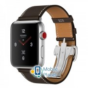Apple Watch Hermes 42mm Series 3 GPS + Cellular Stainless Steel Case with Ebene Barenia Leather Single Tour Deployment Buckle (MQLT2)