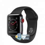Apple Watch Series 3 (GPS Cellular) 38mm Space Black Stainless Steel w. Black Sport B. (MQJW2)