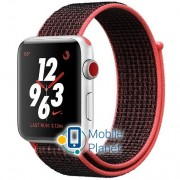Apple Watch Nike Series 3 (GPS Cellular) 42mm Silver Aluminum w. Bright Crimson/BlackSport (MQLE2)
