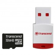 Transcend Miсro-SDHC memory card 32GB + P3 Card Reader, class 10 (TS32GUSDHC10-P3)