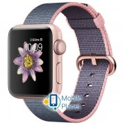 Apple Watch Series 2 38mm Rose Gold Aluminum Case with Light Pink/Midnight Blue Woven Nylon Band MNP02