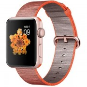 Apple Watch Series 2 42mm Rose Gold Aluminum Case with Space Orange/Anthracite Woven Nylon Band MNPM2