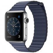 Apple Watch Series 2 42mm Stainless Steel Case with Midnight Blue Leather Loop Band MNPW2