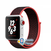 Apple Watch Nike Plus Series 3 (GPS Cellular) 38mm Silver Aluminum Case with Bright Crimson/Black Sport Loop (MQM92)