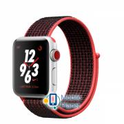 Apple Watch Nike Plus Series 3 (GPS Cellular) 38mm Silver Aluminum Case with Bright Crimson/Black Sport Loop (MQM92)