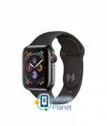 Apple Watch Series 4 (GPS Cellular) 40mm Black Steel Case with Black Sport Band (MTUN2) / (MTVL2)