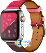 Apple Watch Hermes Series 4 (GPS Celluar) 40mm Steel Case with Bordeaux/Rose Extreme/Rose Azalee Leather (MU702)