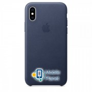 Аксессуар для iPhone Apple Leather Case Midnight Blue (MRWN2) for XS