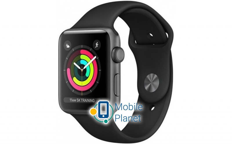 Apple Watch Series 3 (GPS) 42mm Space Gray Aluminum Case with Black Sport Band (MTF32)