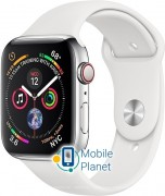 Apple Watch Series 4 (GPS Cellular) 44mm Polished Stainless Steel Case with White Sport Band (MTX02)