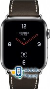 Apple Watch Hermes Series 4 (GPS Celluar) 44mm Stainless Steel Case with Ébène Barenia Leather Single Tour Deployment Buckle (MU6U2)