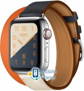 Apple Watch Hermes Series 4 (GPS Celluar) 40mm Stainless Steel Case with Indigo/Craie/Orange Swift Leather Double Tour (MU7K2/MU7L2)