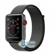 Apple Watch Series 3 (GPS Cellular) 42mm Space Gray Aluminum Case with Dark Olive Sport Loop (MQKR2)