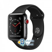 Apple Watch Series 3 (GPS Cellular) 42mm Stainless Steel w. Black Sport Band (MQM02)