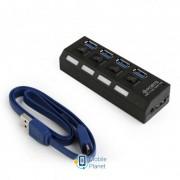 Концентратор USB3.0 Gembird UHB-U3P4-22, с выключателями, Black 4хUSB3.0