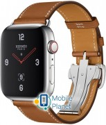 Apple Watch Hermes Series 4 (GPS Celluar) 44mm Stainless Steel Case with Fauve Barenia Leather Single Tour Deployment Buckle (MU6T2/MU742)