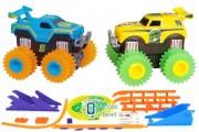 Машинки на бат. Trix Trux набор 2 машинки с трассой (синий+желтый) (JLT-AS332BY)