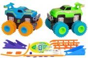 Машинки на бат. Trix Trux набор 2 машинки с трассой (синий+зеленый) (JLT-AS332BG)