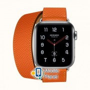 Apple Watch Hermes Series 4 (GPS Cellular) 40mm Stainless Steel Case with Feu Epsom Leather Single Tour (MYFY2)