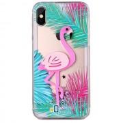 Пластиковая накладка Shine Flamingo для Apple iPhone X (5.8) (1 цвет) цвет зеленые листья (Бренд Rebus) (00000025230_1)