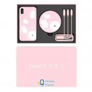 Подарочный комплект Nillkin Fancy (беспроводное ЗУ + чехол Glass case для iPhone XS Max +кабель 3в1) Розовый (00000027151_1)