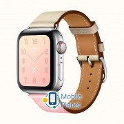 Apple Watch Hermes Series 4 (GPS Cellular) 40mm Steel Case with Rose Sakura/Craie/Argile Swift (H078727CJAE)