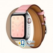 Apple Watch Hermes Series 4 (GPS Cellular) 40mm Steel Case with Rose Sakura/Craie/Argile Swift (H078731CJAE)