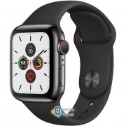 Apple Watch Series 5 (GPS Cellular) 40mm Space Black Stainless Steel Case with Black Sport Band (MWWW2)
