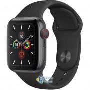 Apple Watch Series 5 (GPS Cellular) 40mm Space Gray Aluminum Case with Black Sport Band (MWWQ2)
