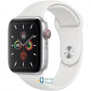 Apple Watch Series 5 (GPS Cellular) 44mm Silver Aluminum Case with White Sport Band (MWVY2)