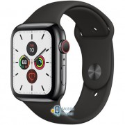 Apple Watch Series 5 (GPS Cellular) 44mm Space Black Stainless Steel Case with Black Sport Band (MWW72)