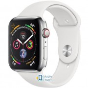 Apple Watch Series 5 (GPS Cellular) 44mm Stainless Steel Case with White Sport Band (MWW22)