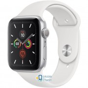 Apple Watch Series 5 (GPS) 44mm Silver Aluminum Case with White Sport Band (MWVD2)