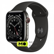 Apple Watch Series 6 (GPS Cellular) 44mm Graphite Stainless Steel Case with Black Sport Band (M09H3/M07Q3)